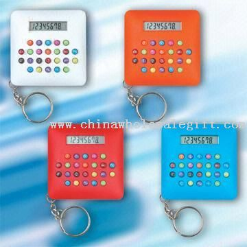 8-digit LCD Display Calculators with Key Chain Available in Solid Colors
