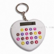 Heart-shape Mini Calculator with Colorful Buttons and Keychain Function images
