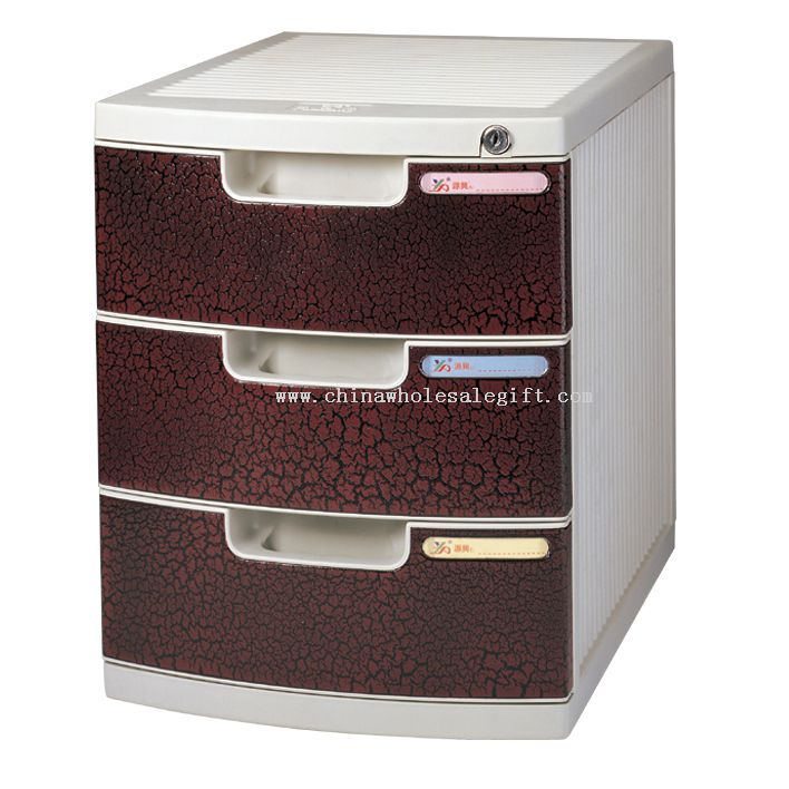 3-Layers file cabinet with lock and empaistic cortex veins
