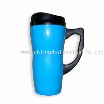 Double-wall Plastic Mug with Capacity of 16-ounce