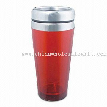 Double Walled Plastic Mug with Stainless Steel Lid and 16oz Capacity