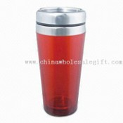Double Walled Plastic Mug with Stainless Steel Lid and 16oz Capacity images