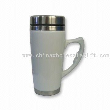 16oz Ceramic Travel Mug with Stainless Steel Inner and Lid