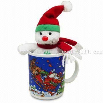 snowman in mug Plush Snowman in Ceramic Mug
