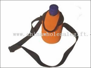bottle holder with cap and shoulder strap