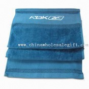Velour Fitness Towel with Embroidered Logo and Satin images