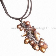 Brown Leather Necklace with Pearl Shell Grapes Pendant images