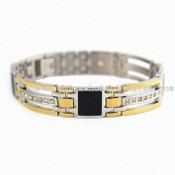 316L Stainless Steel Bracelet with Satin Finish and Czech Stones images