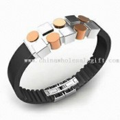 316L Stainless Steel Fashionable Bracelet with IP ROSE Plating and Leather/PVC Rubber Chain images