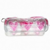 Glitter PVC Pouch with Color Liquid Inside the Heart Shape and Zipper images