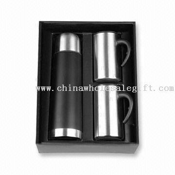 Flask Gift Set with 2-piece 11oz Double-wall S/S Mug