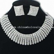 Costume Jewelry Set/Necklace/Earrings with Rhodium Plating images