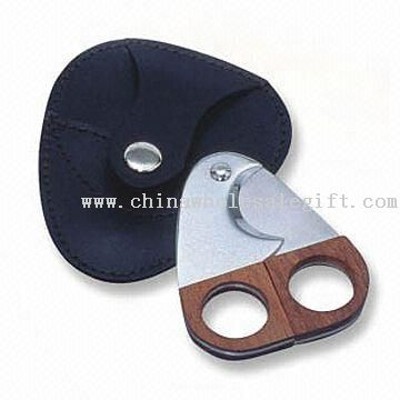 Stainless Steel Cigar Cutter with Wooden Handle