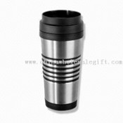 Double-wall Stainless Steel Travel Mug with Six Rubber Grip Rings and Capacity of 16oz images