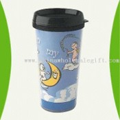Plastic Mug with Clear Cases and Inserted Printed Paper images