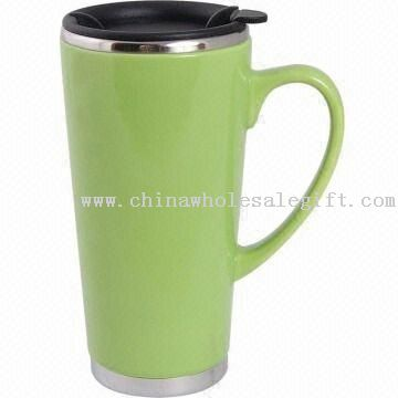 16-ounce Travel Mug with Stainless Steel Liner and Ceramic Outer
