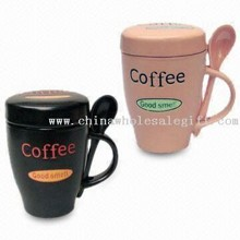 Ceramic Coffee Mug with Spoon and Lid images