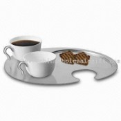 Ceramic Mugs with Stainless Steel Platter images