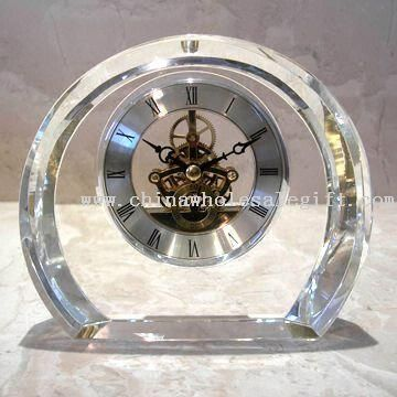 Crystal Clock with Brass Skeleton Movement