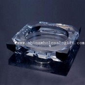 Crystal Ashtray with Black Corner images