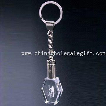 Laserkaiverrus Crystal avainnippu sininen LED