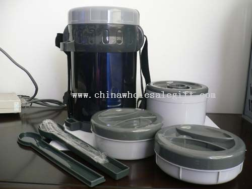 Double-wall Stainless Steel Lunch Container with 3 plastic boxes and spoon or fork