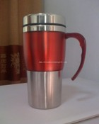 16oz stainless steel travel mug with transparent plastic outer and handle images