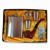 6oz Stainless Steel Hip Flask with Filler, Lighter, and Tobacco Pipe images