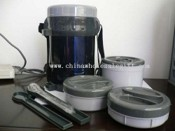 Double-wall Stainless Steel Lunch Container with 3 plastic boxes and spoon or fork images