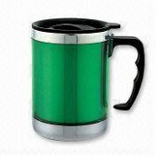Stainless Steel travel mug with AS translucent plastic outer images