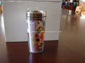 stainless steel travel mug with insert paper advertising images