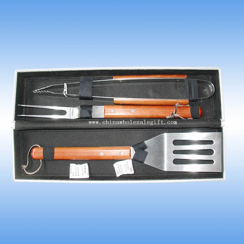 3pcs BBQ tool set with rose wood handle