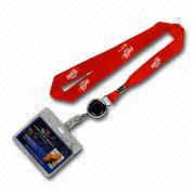 Nylon Lanyard with PVC Card Holder, Badge Reel, and Clamp Clip