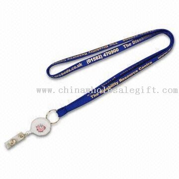 Nylon Lanyard with Badge Reel and Metal Clip Attachment