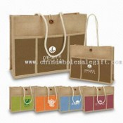Jute Shopping Bag with Flat Paper Handle images