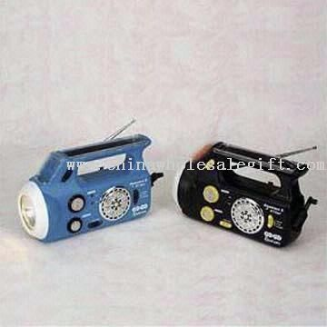 Rechargeable Solar Dynamo Lantern Radio with LED Indicator and Portable Handle