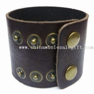 Genuine Leather Bracelet with Brass Snap Closure, Nickel- and Lead-free