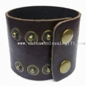 Genuine Leather Bracelet with Brass Snap Closure, Nickel- and Lead-free images