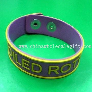 Promotional Relief Soft Rubber Snaps Bracelet with Logos