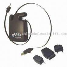 USB Retractable Mobile Phone Battery Charger with Universal Mobile Plug Adapters for Computer User images