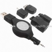 USB Retractable Mobile Phone Battery Charger with 4 Type Mobile Plug for Computer User images