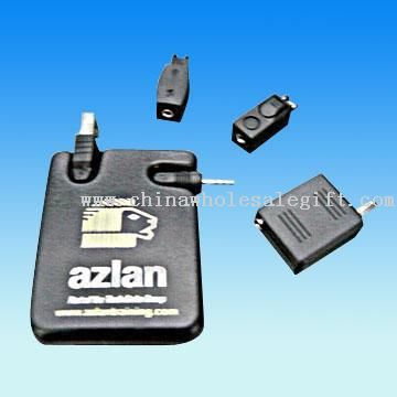 USB Mobile Phone Battery Charger with Retractable Cable and Universal Adapters