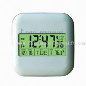 Digital Clock with 12.7 x 12.7 x 2.7cm Dimensions, Calendar, and Thermomter Function images