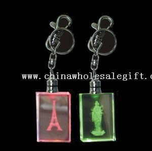 Multi-Color Led Crystal Keychain With 3d Image Inside