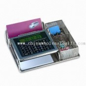 Stationery Holder with World Time Calendar and Calculator images