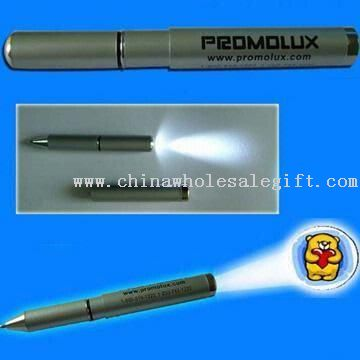 Metal LED Projection Pen with Torch
