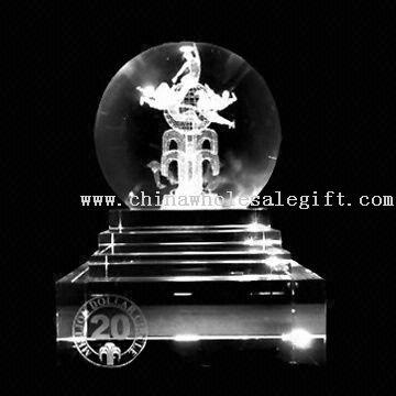 3D Engraving ball award Crystal Award with 3D Engraving Work