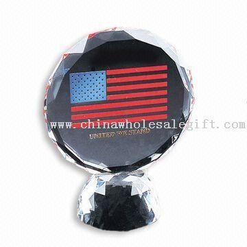 Crystal Award with American Flag