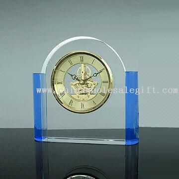 Crystal Clock, Made of Clear and Blue Crystal