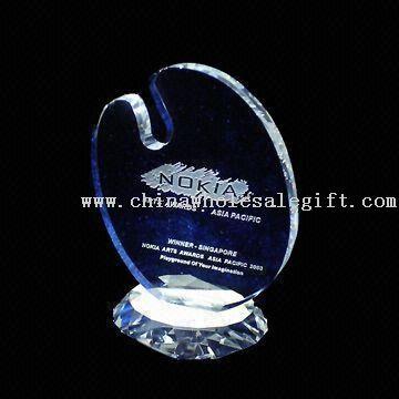 Crystal ellipsoid award Crystal Award with Customers Logos for Promotion